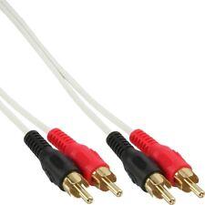 1m Audio Chinchkabel Cinch Cynch RCA Kabel vergoldete Chinch Stecker Weiß kurze
