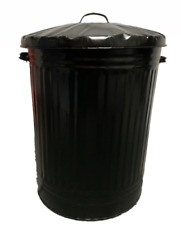 90L LARGE METAL BIN TRASH CAN DUSTBIN WASTE HORSE ANIMAL FEED WITH LID - BLACK