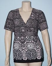 Lane Bryant 14/16w 1x Black & Pink Geo S/S Tie Waist Surplice Tunic Blouse Top