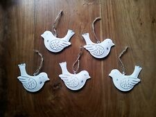 Set Of 5 White Vintage Chic Hanging Birds Decorations Metal  Shabby Chic