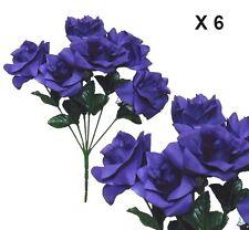 "(Pack of 6 ) Microfiber Purple Rose 14"" Bush Silk Flower Home Wedding Decor"