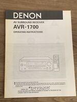 Denon AVR-1700 AV Surround Receiver Owners Manual