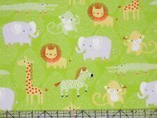 Clothworks Safari Sweet Lion Monkey Elephant Animals Lime Organic Fabric
