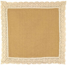 "14"" Square Cotton Burlap Tablemat with Heavy Lace Trim"