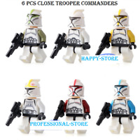 6 Pcs / lot Star Wars Minifigures - Star Wars Clone Trooper Commanders Lego MOC