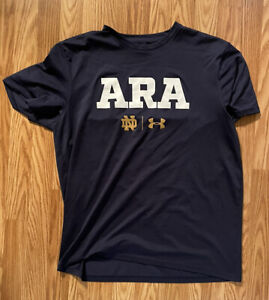 NOTRE DAME FOOTBALL TEAM ISSUED UNDER ARMOUR SHIRT ARA LARGE