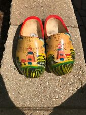 Vintage Dutch Wooden Shoes Clogs Holland Hand Carved Painted Windmill Wood