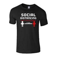 Social Distancing Mens T Shirt Top Black Panic Virus Pandemic Quarantine Safety