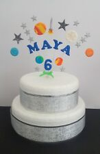 Rocket, space, planet birthday cake topper, personalised name, age, colours