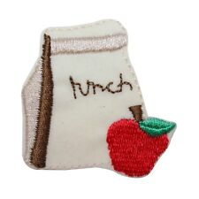ID 0982A School Lunch Bag Apple Children Kid Embroidered Iron On Applique Patch