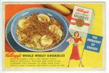 c1940 Kellog's Whole Wheat Krumbles Cereal ad blotter