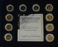 More details for the complete us usa platinum plated state quarters collection coa + case