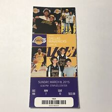 Los Angeles Lakers Vs Dallas Mavericks NBA Basketball Ticket Stub March 2015