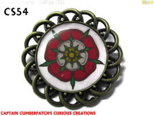 steampunk brooch badge pin tudor rose war of the roses combine red white #CS54