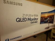 """Samsung QLED CJ791 34"""" Curved Monitor Ultra-Wide Thunderbolt CRACKED SCREEN"""