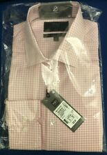 M&S Collection men's pure cotton non-iron shirt pink check pattern size 15 inch