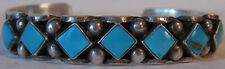 VINTAGE NAVAJO INDIAN SILVER & TURQUOISE CUFF BRACELET
