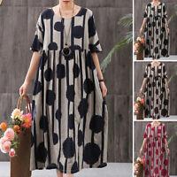ZANZEA Women Summer T-Shirt Dress Vintage Polka Dot Midi Dress Shirt Dress Plus