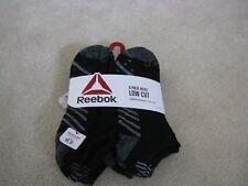 Reebok Mens Low Cut Socks 6 Pair Black Grey Stripe Dots Size 10-13