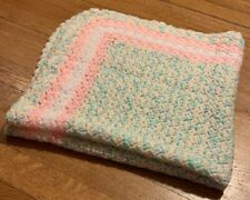 Handmade Crochet Granny Knit Soft Pink Pastel Afghan Knit Baby Kid Blanket 32x32