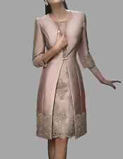 Elegant Lace Short Mother of the Bride Suits Formal Party Bridal Dress + Coat
