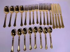Rogers Co Gold Plated Stainless Steel Korea Flatware Set LOVELY 24 Pieces