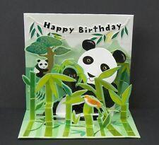 3D Pop Up Greeting Card Pandas Happy Birthday Panda Bear Bamboo Treasures New