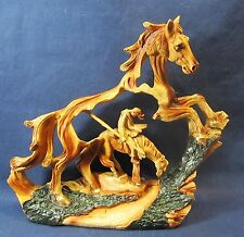 Horse and Rider Western Wood look resin sculpture  Trails End