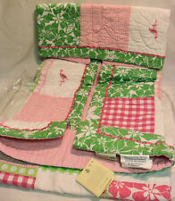 Tropical Baby Crib Quilt Embroidered Pottery Barn Kelly Flamingos Dragonflies