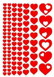98 HEART DECALS / LOVE Vinyl Car Stickers Wall Art All purpose Peel and Stick