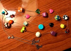 """Betsey Johnson Sweetie """"Love You"""" Mult-Color Geometric Necklace RETIRED & RARE!"""