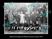 New listing Old Large Historic Photo Of Shamrock Canada, The Shamrock Lacrosse Team c1910