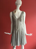 Miss Selfridge Grey Beaded Flapper 1920s Gatsby Charleston Dress UK 12 BNWT