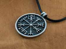 925 Sterling Silver Viking Compass - Vegvisir Norse Pagan Rune Pendant Necklace