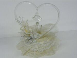 "Vintage Lace Wedding Cake Topper W/ Glass Heart & Swan - 7.5""H x 6.5"" W"