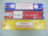 Assorted Sampler Lot Nag Champa Incense Sticks: Satya, Goloka & Golden