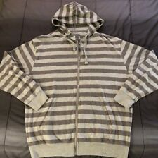 PJ Mark Mens Long Sleeve Hoodie Striped Grey And Charcoal Drawstring