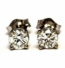 New GIA certified 14k white gold .71ct SI2 H round diamond earrings .7g estate