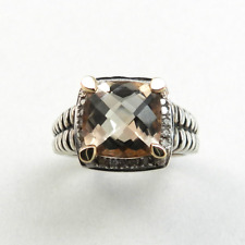 Smoky Quartz and Diamond Ring in 925 Sterling Silver and Solid 14kt Yellow Gold