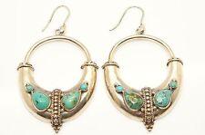 VINTAGE Etnico Argento Sterling Turchese Grande Tribale Cerchio Dangle Earrings, 13g