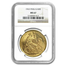 1963 Peru Gold 100 Soles Liberty MS-67 NGC