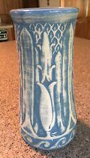 "Vtg 10"" Monmouth Vase Lotus Blue Marked Perfect"
