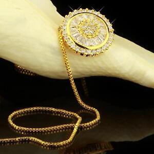 Anhänger Medallion Zirkonia weiß Echt 750er Gold 18 Karat vergoldet Damen A2814