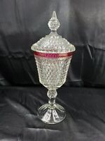 Cut to clear Glass Diamond Point Tall Dish Lid Ruby Red Band across Top 15 3/4""