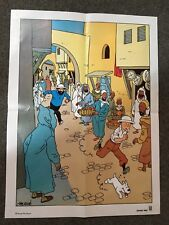 Rare Ancienne affiche publicitaire TINTIN  Hergé Moulinsart par biscuit LU