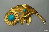 Vintage Flower Brooch Pin Faux Turquoise Glass Cabochons