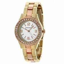 NEW Rousseau 9056 Women's Rene Collection Two Tone Classic Rose Gold Sleek Watch
