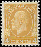 Mint H Canada 1932 F+ Scott #198 4c King George V Medallion Stamp Regummed