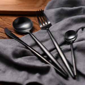 Stainless Steel Dinnerware Set Black Matte Knife Spoon Fork Cutlery Kitchen 24pc