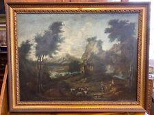 Antico dipinto '700 olio su tela paesaggio fluviale con contadini XVIII secolo